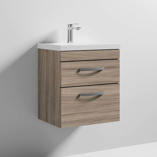 Additional image for Wall Vanity Unit With 2 x Drawer & Basin 500mm (Driftwood).