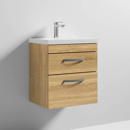 Additional image for Wall Vanity Unit With 2 x Drawer & Basin 500mm (Natural Oak).