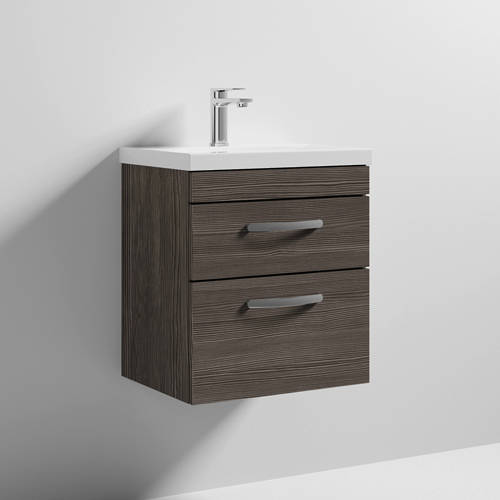 Additional image for Wall Vanity Unit With 2 x Drawer & Basin 500mm (Grey Avola).