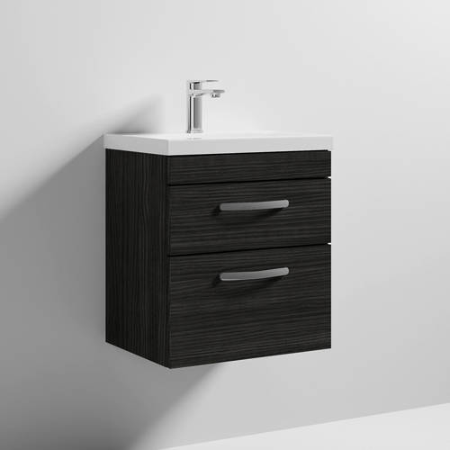 Additional image for Wall Vanity Unit With 2 x Drawer & Basin 500mm (Hacienda).