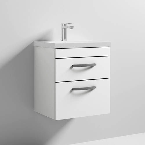 Additional image for Wall Vanity Unit With 2 x Drawer & Basin 500mm (Gloss White).