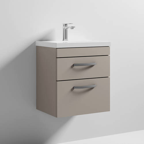 Additional image for Wall Vanity Unit With 2 x Drawer & Basin 500mm (Stone Grey).