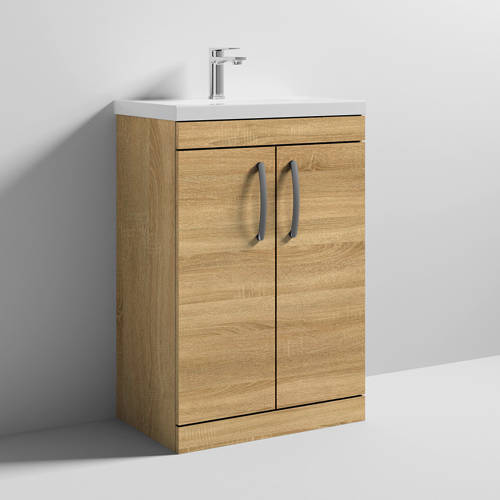 Additional image for Vanity Unit With 2 x Doors & Basin 600mm (Natural Oak).