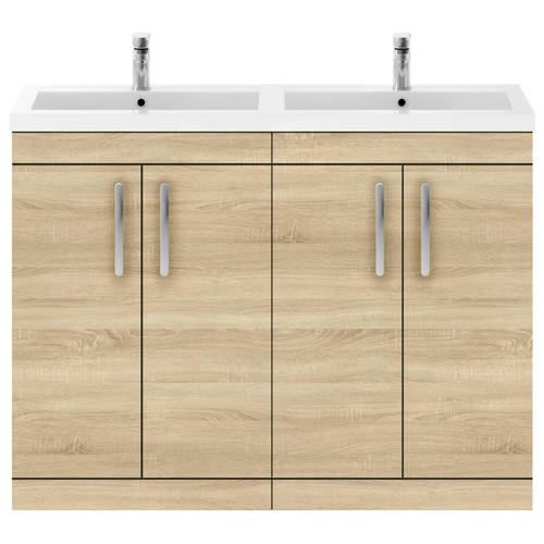 Additional image for Vanity Unit With 4 x Doors & Double Basin (Natural Oak).