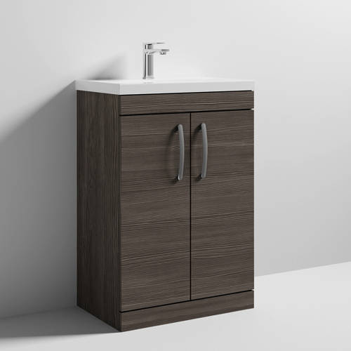 Additional image for Vanity Unit With 2 x Doors & Basin 600mm (Brown Grey Avola).
