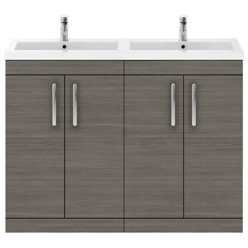 Additional image for Vanity Unit With 4 x Doors & Double Basin (Brown Grey Avola).
