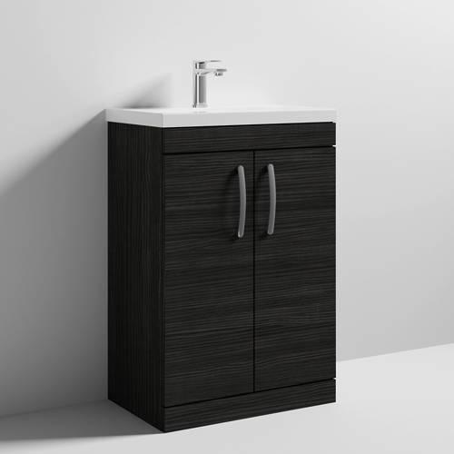Additional image for Vanity Unit With 2 x Doors & Basin 600mm (Hacienda Black).