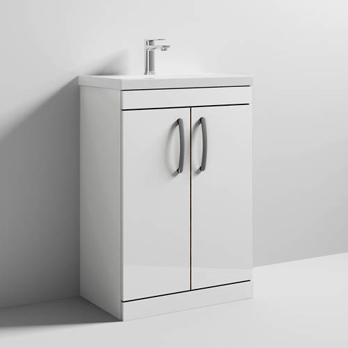 Additional image for Vanity Unit With 2 x Doors & Basin 600mm (Gloss White).