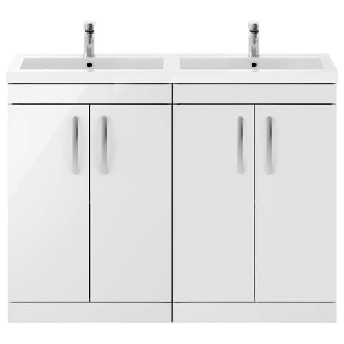 Additional image for Vanity Unit With 4 x Doors & Double Basin (Gloss White).
