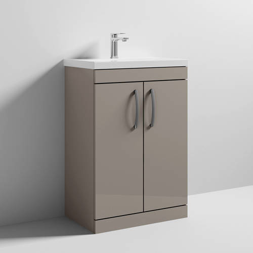 Additional image for Vanity Unit With 2 x Doors & Basin 600mm (Stone Grey).