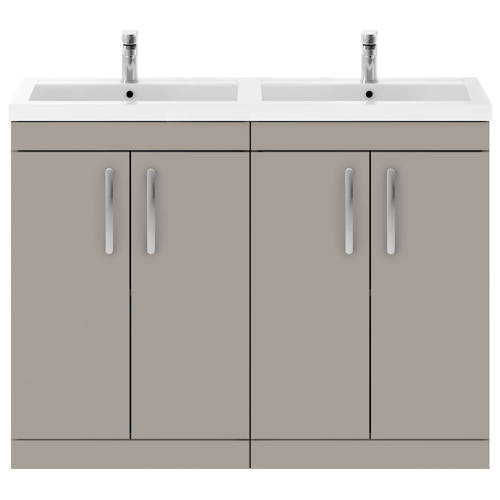 Additional image for Vanity Unit With 4 x Doors & Double Basin (Stone Grey).