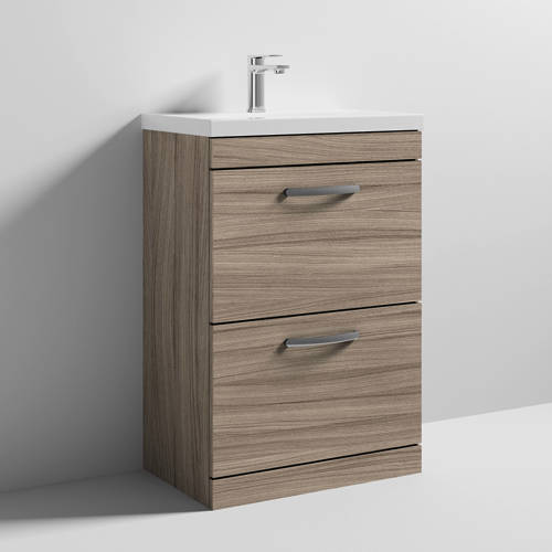Additional image for Vanity Unit With 2 x Drawers & Basin 600mm (Driftwood).