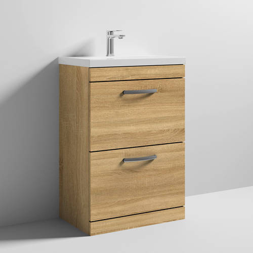 Additional image for Vanity Unit With 2 x Drawers & Basin 600mm (Natural Oak).