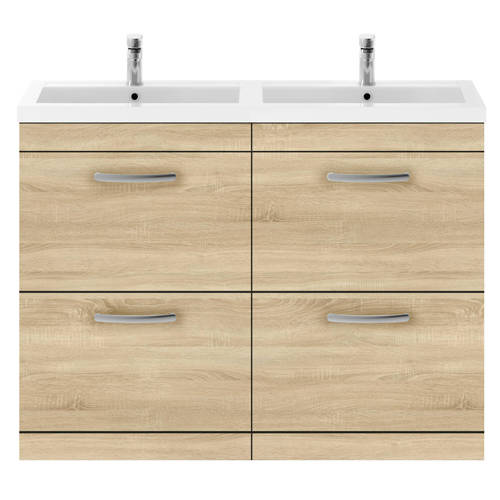 Additional image for Vanity Unit With 4 x Drawers & Double Basin (Natural Oak).