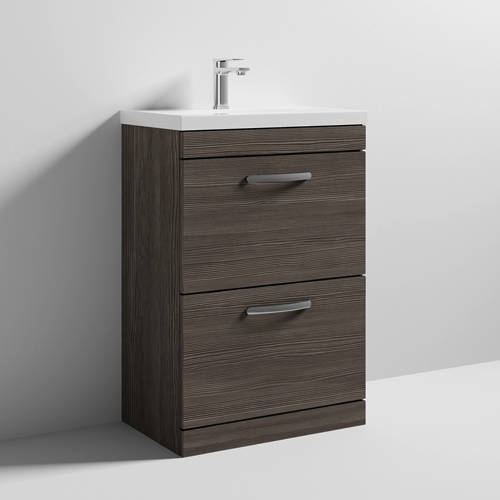Additional image for Vanity Unit With 2 x Drawers & Basin 600mm (Brown Grey Avola).