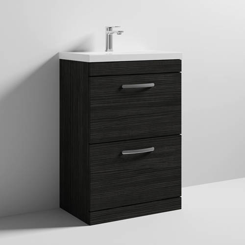 Additional image for Vanity Unit With 2 x Drawers & Basin 600mm (Hacienda Black).