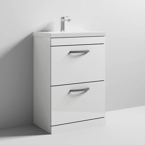 Additional image for Vanity Unit With 2 x Drawers & Basin 600mm (Gloss White).