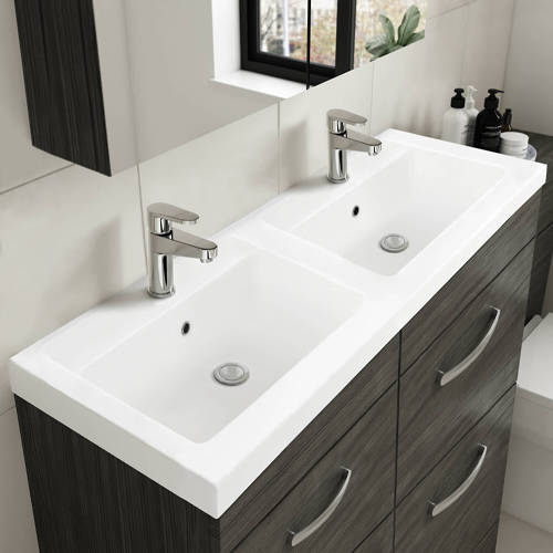 Additional image for Vanity Unit With 4 x Drawers & Double Basin (Gloss White).