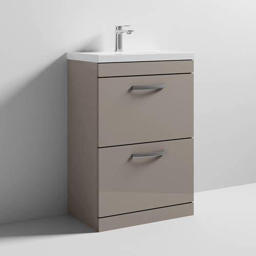 Additional image for Vanity Unit With 2 x Drawers & Basin 600mm (Stone Grey).