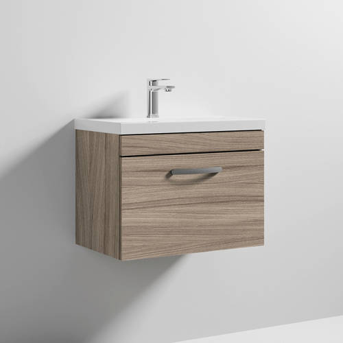Additional image for Wall Vanity Unit With 1 x Drawer & Basin 600mm (Driftwood).