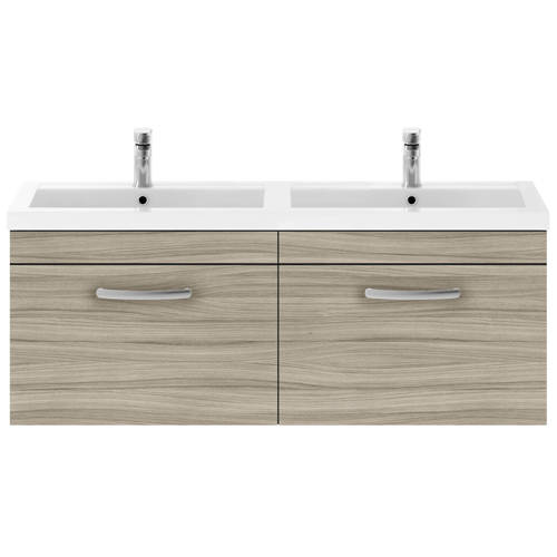 Additional image for Wall Vanity Unit With 2 x Drawers & Double Basin (Driftwood).
