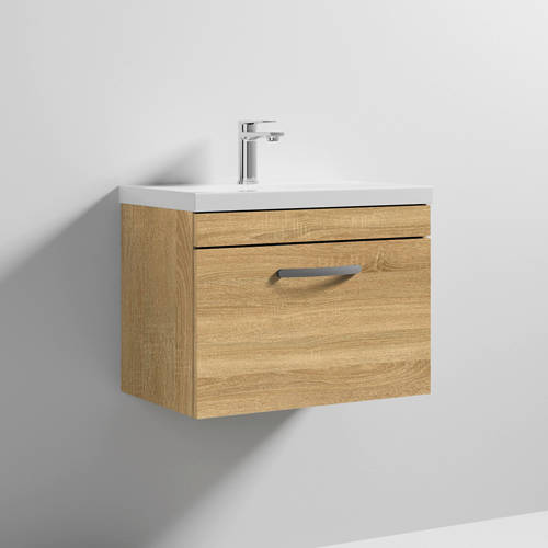 Additional image for Wall Vanity Unit With 1 x Drawer & Basin 600mm (Natural Oak).