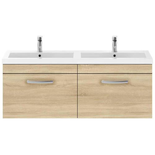 Additional image for Wall Vanity Unit With 2 x Drawers & Double Basin (Natural Oak).