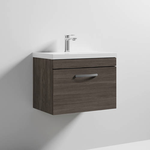 Additional image for Wall Vanity Unit With 1 x Drawer & Basin 600mm (Grey Avola).