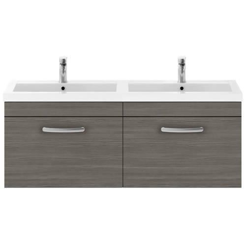Additional image for Wall Vanity Unit With 2 x Drawers & Double Basin (Grey Avola).
