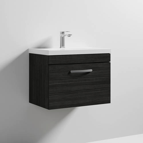 Additional image for Wall Vanity Unit With 1 x Drawer & Basin 600mm (Hacienda).