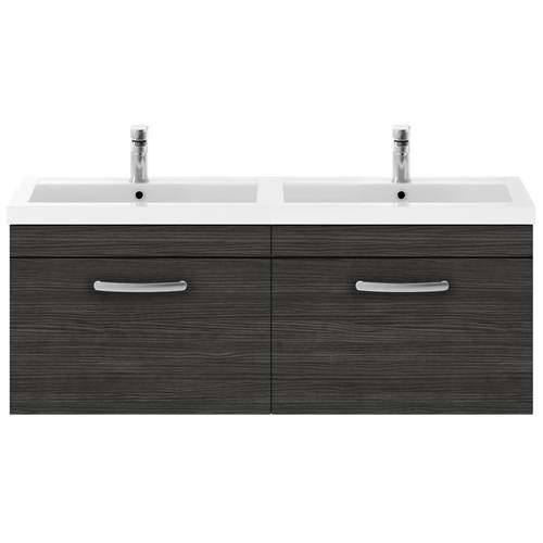 Additional image for Wall Vanity Unit With 2 x Drawers & Double Basin (Hacienda).