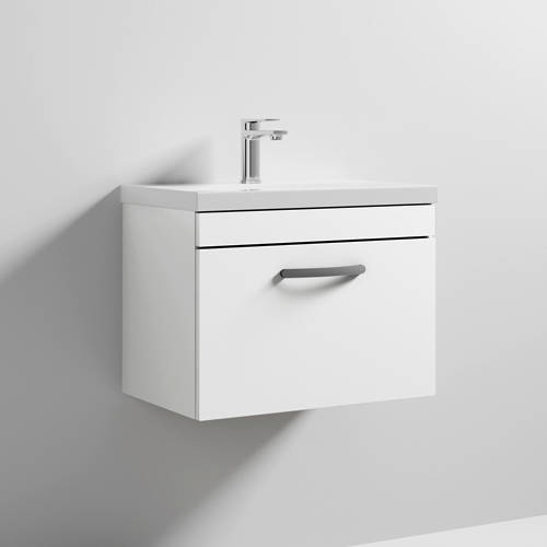 Additional image for Wall Vanity Unit With 1 x Drawer & Basin 600mm (Gloss White).