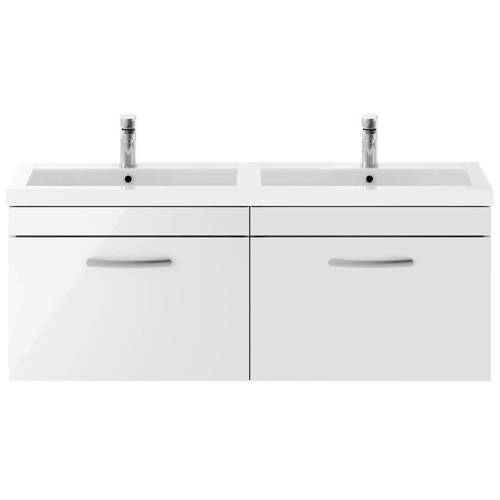Additional image for Wall Vanity Unit With 2 x Drawers & Double Basin (Gloss White).