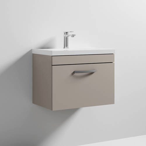 Additional image for Wall Vanity Unit With 1 x Drawer & Basin 600mm (Stone Grey).