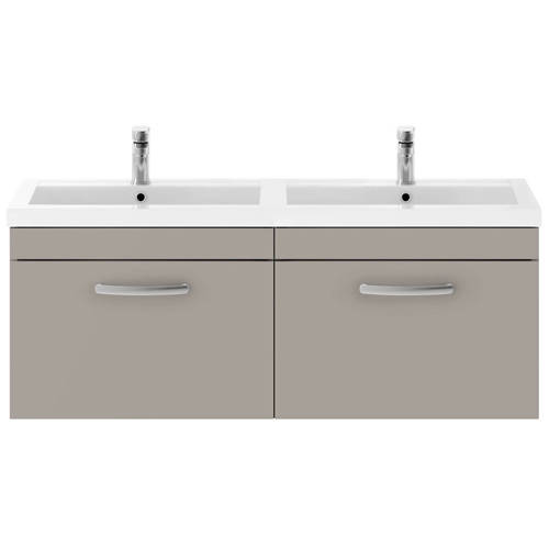 Additional image for Wall Vanity Unit With 2 x Drawers & Double Basin (Stone Grey).
