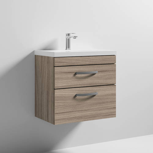 Additional image for Wall Vanity Unit With 2 x Drawer & Basin 600mm (Driftwood).