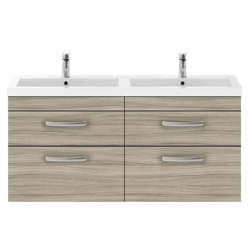 Additional image for Wall Vanity Unit With 4 x Drawers & Double Basin (Driftwood).