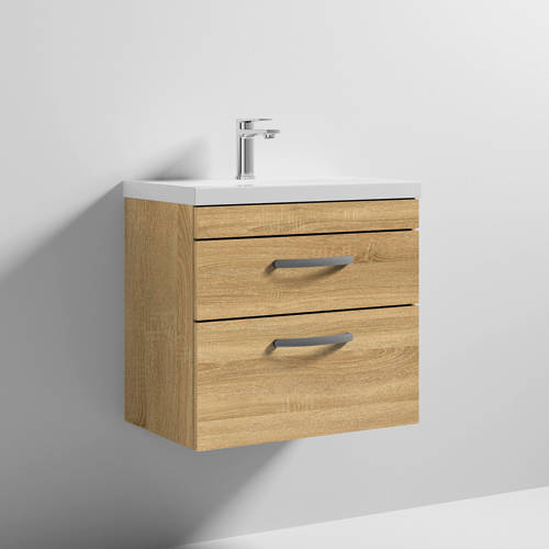 Additional image for Wall Vanity Unit With 2 x Drawer & Basin 600mm (Natural Oak).