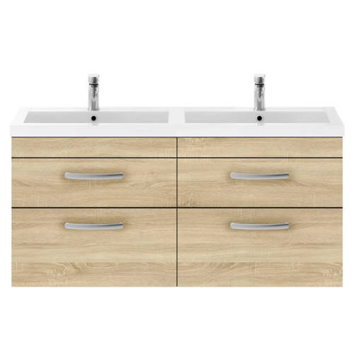 Additional image for Wall Vanity Unit With 4 x Drawers & Double Basin (Natural Oak).