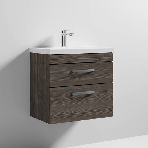 Additional image for Wall Vanity Unit With 2 x Drawer & Basin 600mm (Grey Avola).