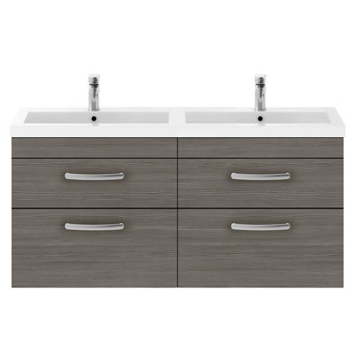 Additional image for Wall Vanity Unit With 4 x Drawers & Double Basin (Grey Avola).