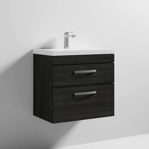 Additional image for Wall Vanity Unit With 2 x Drawer & Basin 600mm (Hacienda).