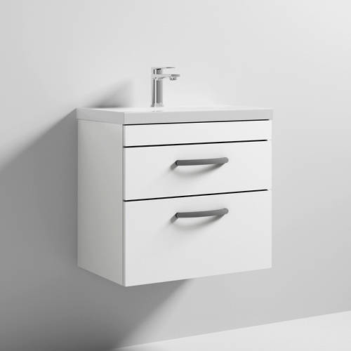 Additional image for Wall Vanity Unit With 2 x Drawer & Basin 600mm (Gloss White).