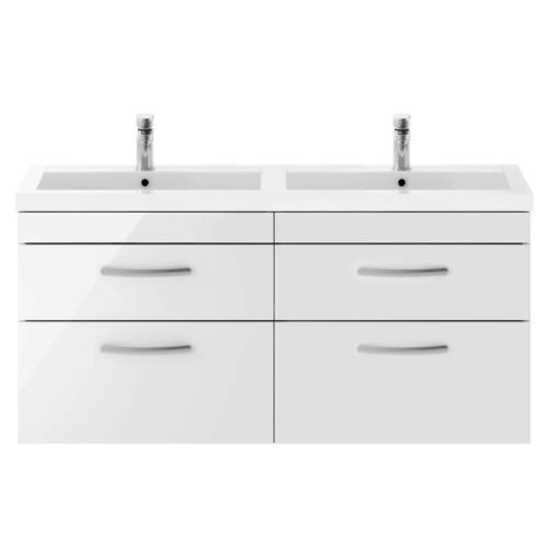Additional image for Wall Vanity Unit With 4 x Drawers & Double Basin (Gloss White).