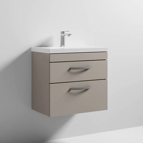 Additional image for Wall Vanity Unit With 2 x Drawer & Basin 600mm (Stone Grey).