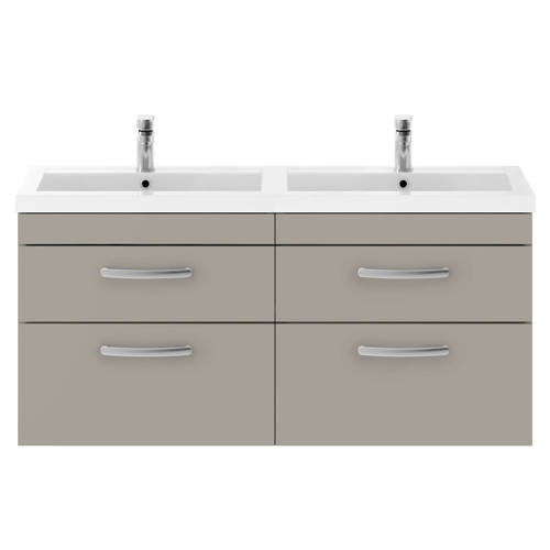 Additional image for Wall Vanity Unit With 4 x Drawers & Double Basin (Stone Grey).