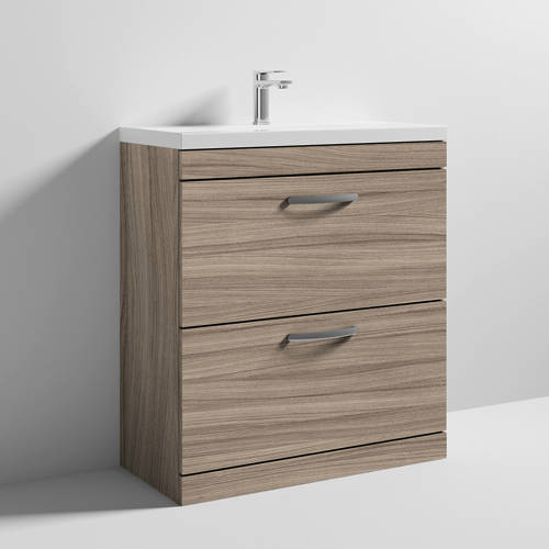 Additional image for Vanity Unit With 2 x Drawers & Basin 800mm (Driftwood).