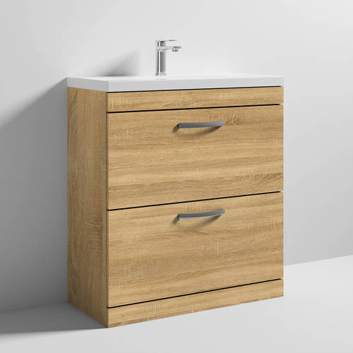 Additional image for Vanity Unit With 2 x Drawers & Basin 800mm (Natural Oak).