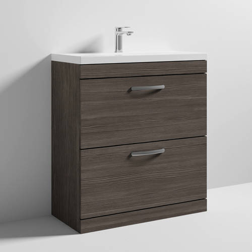 Additional image for Vanity Unit With 2 x Drawers & Basin 800mm (Brown Grey Avola).
