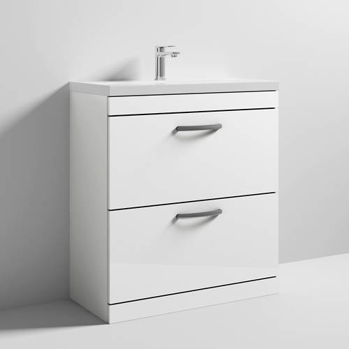 Additional image for Vanity Unit With 2 x Drawers & Basin 800mm (Gloss White).